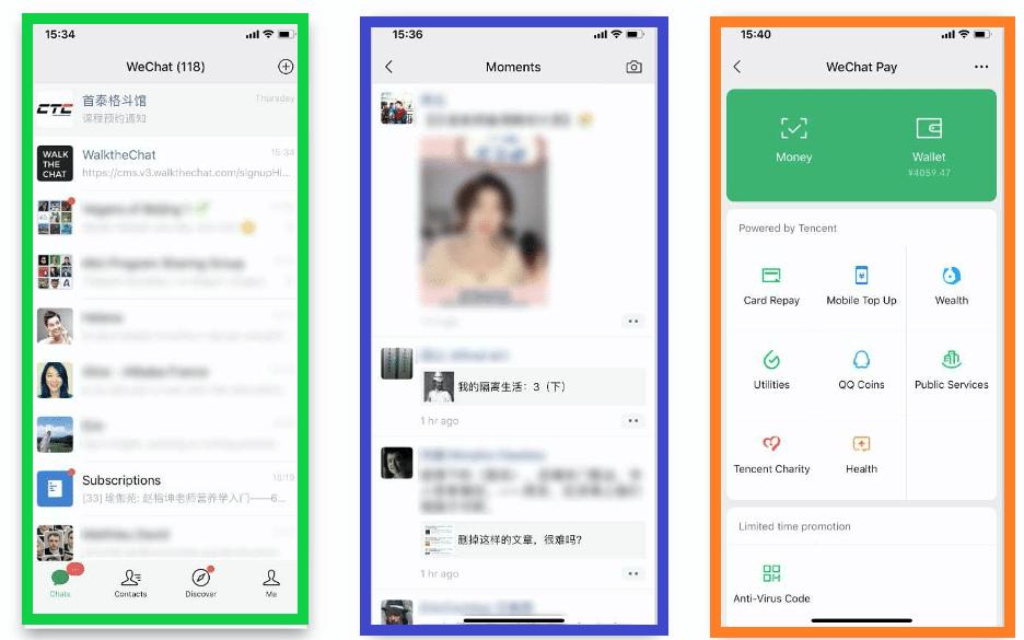 Tres principales secciones de WeChat